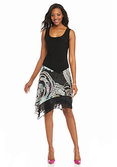 MSK Mixed Media Drop-Waist Dress