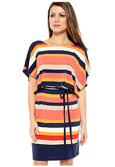 Sangria Sleeveless Blouson Striped Dress