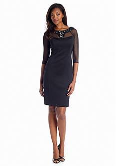 Sangria Scuba Sheath Dress with Embellished Neckline