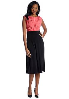Sangria Sleeveless Solid Triple Mesh Dress