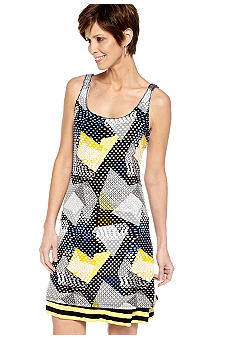 Sangria Sleeveless Printed Reversible Tank Dress