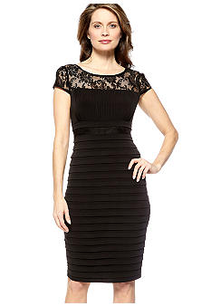 Sangria Petite Cap-Sleeved Lace Bodice Shutter Dress
