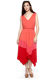 Sangria Petite Sleeveless Colorblock Dress
