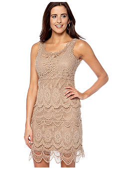 New Directions Sleeveless Tiered Crochet Dress