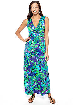 New Directions Sleeveless Crossover V-Neck Printed Maxi Dress