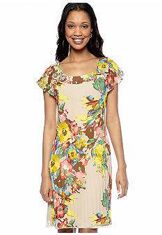 New Directions Flutter Sleeve Pleated Floral Print Dress
