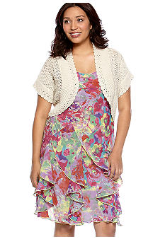 New Directions Plus Size Sleeveless Floral Print Dress with Crochet Sweater