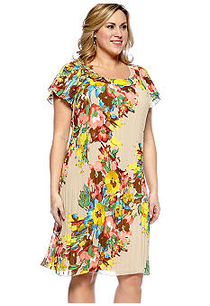 New Directions Plus Size Flutter Sleeve Pleated Floral Print Dress
