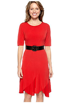 Madison Leigh Elbow Sleeve Belted Dress