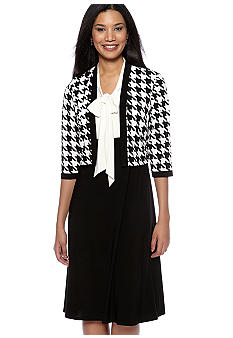 Madison Leigh Petite Houndstooth Jacket Dress