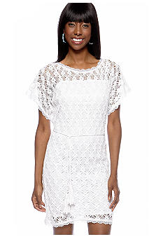 muse Crochet Dress With Tie Belt  - Belk.com