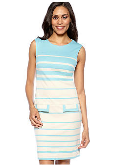 muse Sleeveless Stripe Shift Dress with Pockets