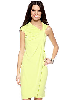 muse Cap Sleeved Drape Front Dress