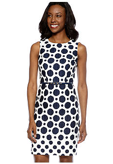 muse Sleeveless Polka Dot Belted Dress