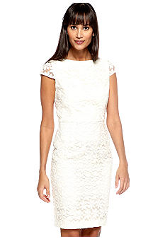 muse Cap-Sleeved Embroidered Sheath Dress