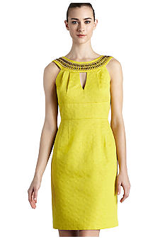 muse Sleeveless Beaded Neck Sheath Dress