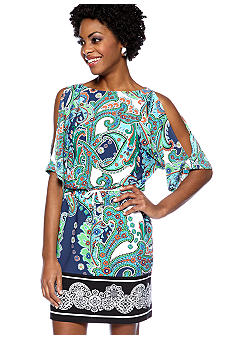muse Cold Shoulder Dolman Sleeve Printed Dress