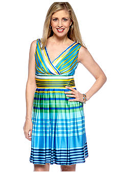 muse Sleeveless Crossover V-Neck Stripe Dress.