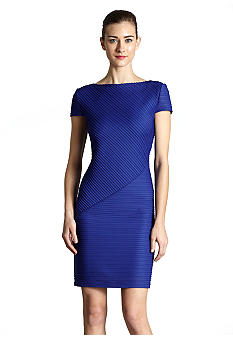 muse Short-Sleeved Textured Sheath Dress