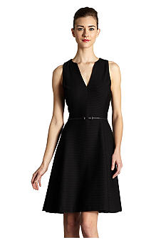 muse Black Textured Belted Dress