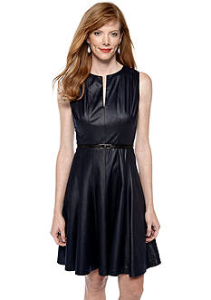 muse Sleeveless Faux Leather Fit and Flare Dress<br>