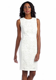 muse Sleeveless Sheath Dress with Lace