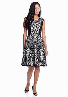 muse Fit and Flare Printed Knit Dress