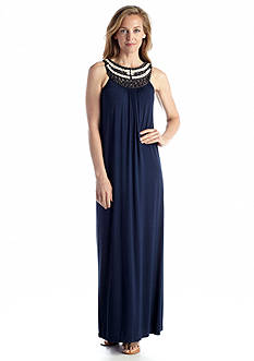 muse Sleeveless Maxi Dress with Embellished Neckline