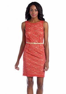muse Sleeveless Allover Lace Belted Sheath Dress