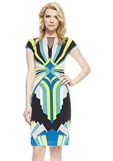 muse Cap Sleeve Printed Sheath Dress