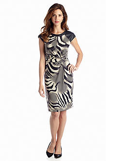 muse Printed Sheath with Faux Leather