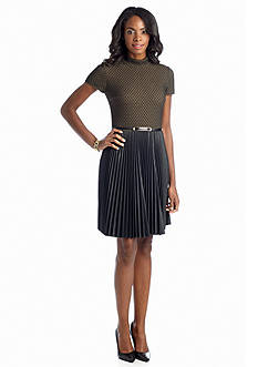 muse Novelty Knit Belted Fit and Flare Dress