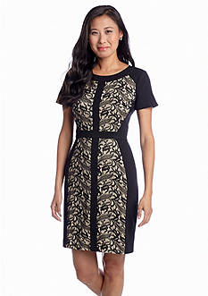 muse Short Sleeve Sheath Dress with Lace