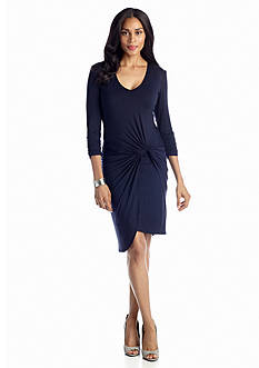 muse Draped Jersey Dress with Faux Leather