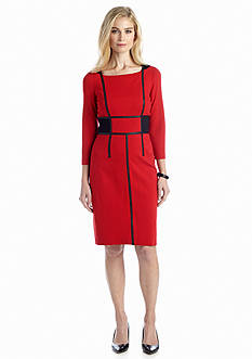 muse Ponte Knit Sheath Dress with Faux Leather Trim