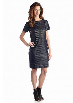 muse Perforated Vegan Leather Shift Dress