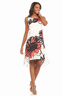 Maggy London Floral Printed Hi-Lo Hem Dress