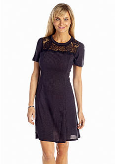 SL Fashions Fit-and-Flare Knit Dress with Lace