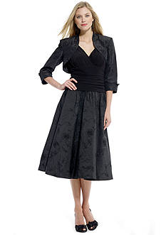 Solid Embroidered Bolero Jacket Dress