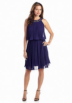 SL Fashions Pleated Pullover Dress with Beaded Neckline
