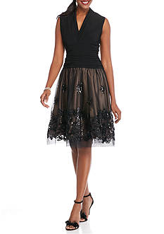 SL Fashions Embroidered Sequin Mesh Skirt Party Dress