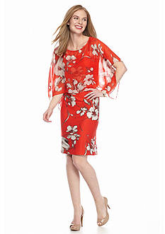 SL Fashions Floral Printed Sheath with Cape Overlay