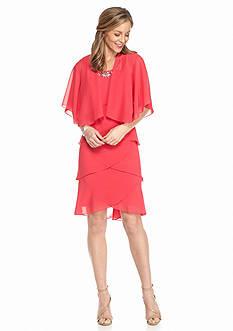 SL Fashions Bead Embellished Chiffon Jacket Dress
