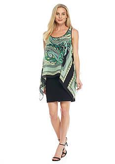 SL Fashions Printed Chiffon Popover Dress