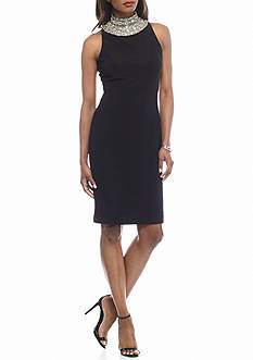 SL Fashions Bead Embellished Jersey Sheath Dress
