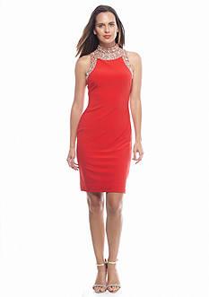 SL Fashions Bead Embellished Jersey Sheath Dress