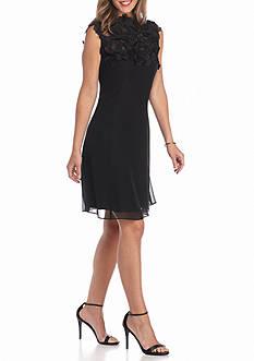 SL Fashions Lace Yoke Trapeze Dress
