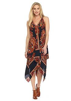 SL Fashions Printed Handkerchief Hem Dress