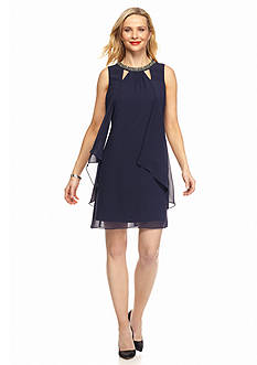 SL Fashions Bead Embellished Shift Dress