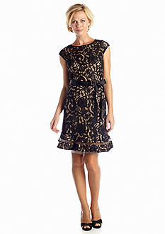 SL Fashions Allover Lace Fit and Flare Dress